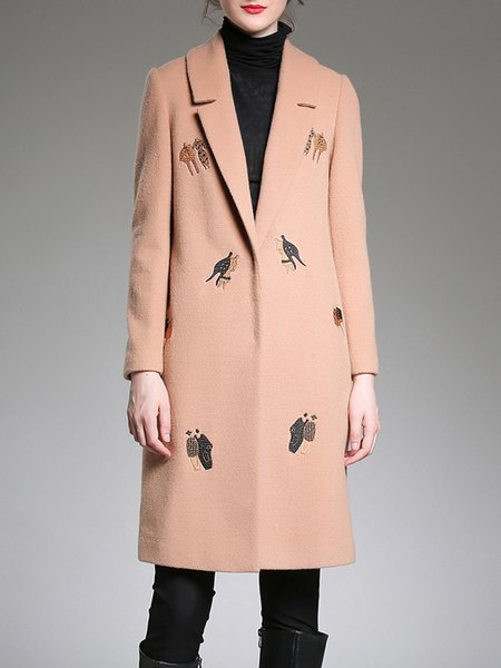 Camel Long Sleeve Lapel H-line Embroidered Coat