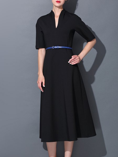 Black Elegant A-line Midi Dress