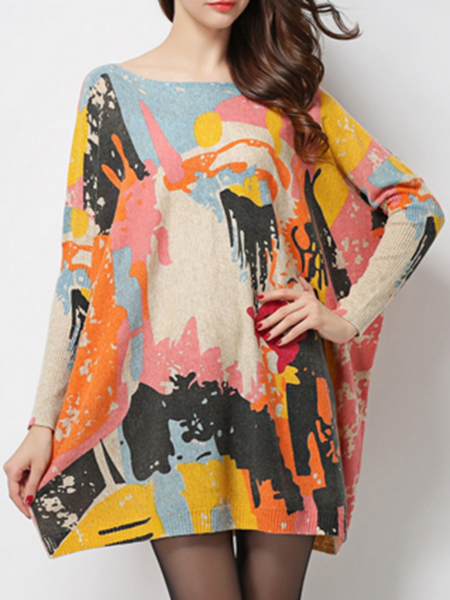Casual Long Sleeve Bateau/boat Neck Abstract Printed Sweater Dress