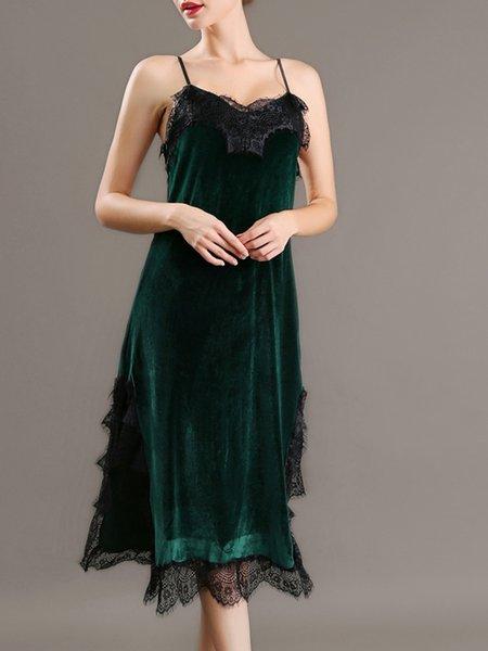 Dark Green Sexy Solid Midi Dress