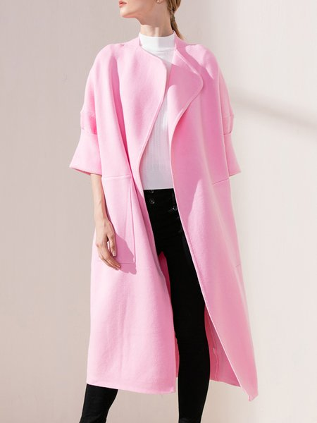 Casual Long Sleeve Solid Wool Coat