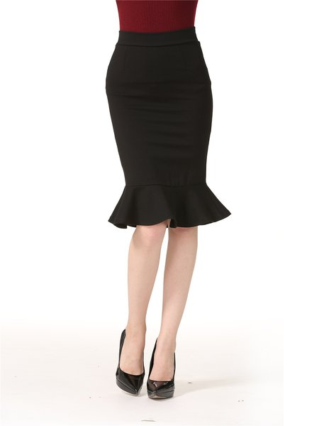 Solid Flounce Simple Midi Skirt