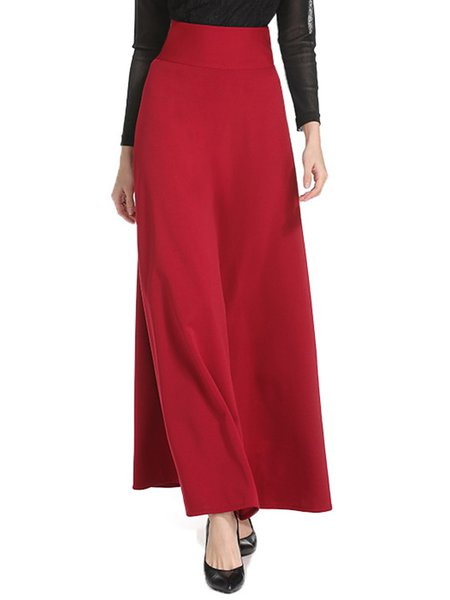 A-line Simple Solid Maxi Skirt