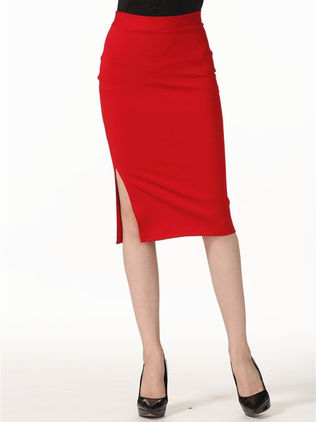 sheath solid midi skirt stylewe
