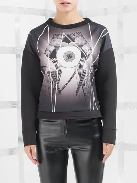 Black Statement Stand Collar Printed Sweatshirt