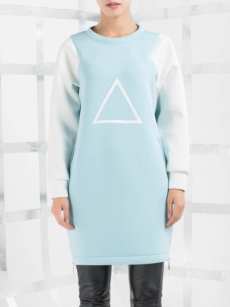 Blue Simple Color-block Paneled Sweatshirt