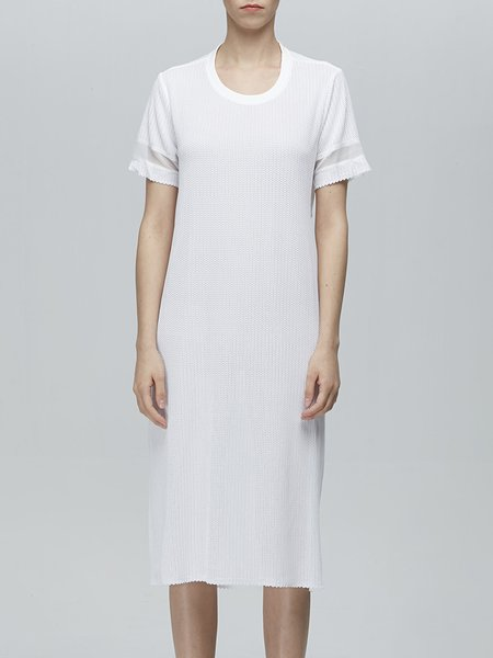 White Plain Statement T-shirt Dress
