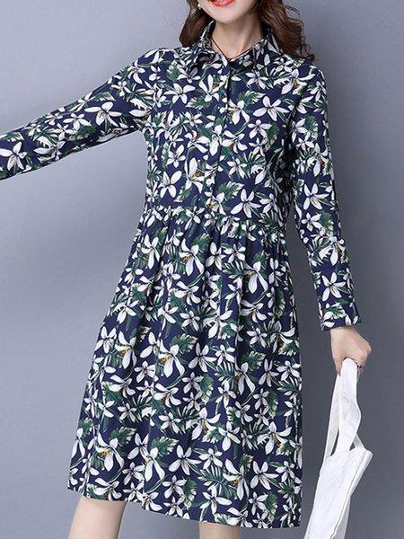 Long Sleeve Floral A-line Casual Linen Dress