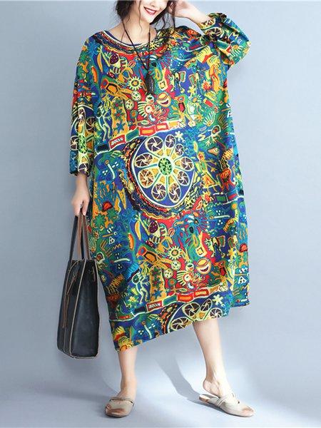 Plus Size Multicolor Printed Long Sleeve Shift Linen Dress