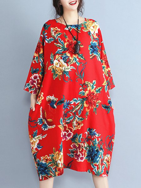 Plus Size Red Shift Long Sleeve Printed Linen Dress