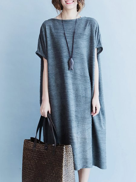 Plus Size Gray Shift Slash Neck Shorts Sleeve Cotton Linen Dress