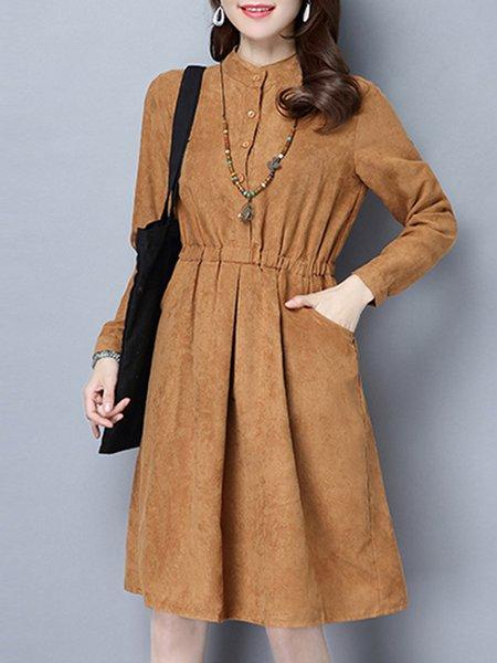 Casual A-line Stand Collar Linen Dress