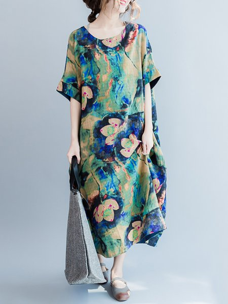 Floral Printed Half Sleeve Casual Linen Dress