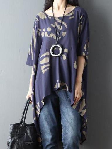 Graphic Printed Casual 3/4 Sleeve Linen Top