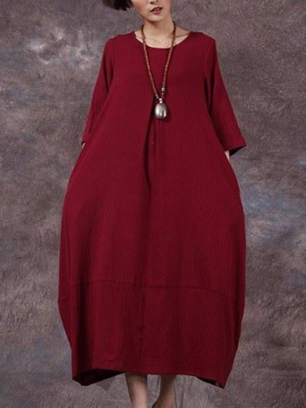 Cocoon 3/4 Sleeve Crew Neck Solid Linen Dress