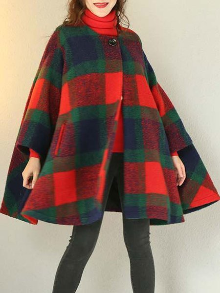 Casual Wool Blend Long Sleeve Checkered/Plaid Pockets Linen Outerwear