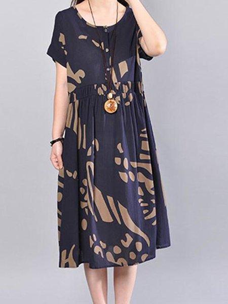 Blue Abstract Short Sleeve Cotton Printed Linen Dress