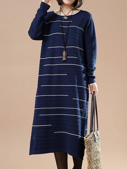 Blue Cotton Long Sleeve Crew Neck Linen Dress