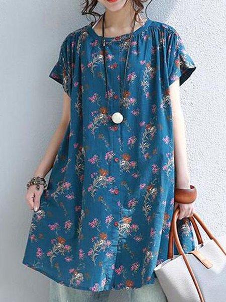 Floral Linen Short Sleeve Casual Printed Linen Dress