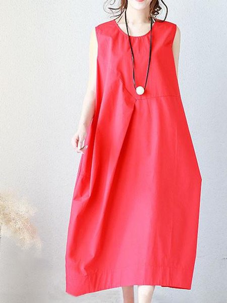 Red Cocoon Cotton Crew Neck Sleeveless Linen Dress