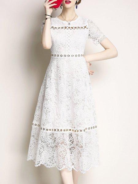Midi Dress A-line Date Short Sleeve Plain Dress