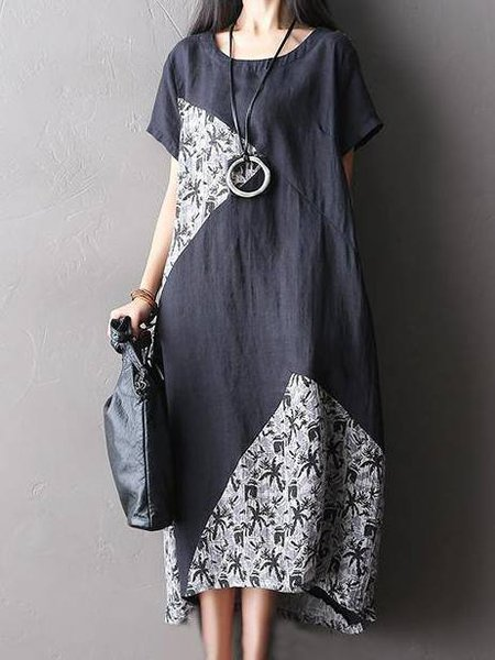 Black Short Sleeve Crew Neck Asymmetric Linen Dress