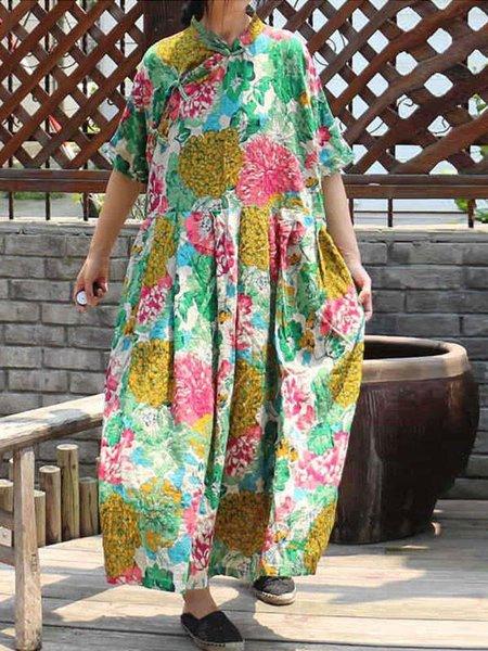 Green Casual Stand Collar Linen Dress