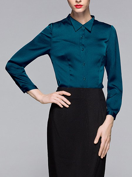 Dark Blue Long Sleeve Solid Blouse