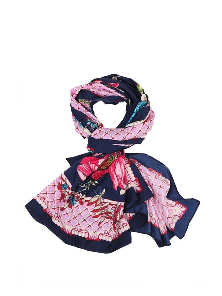 Multicolor Floral Casual Silk Scarf