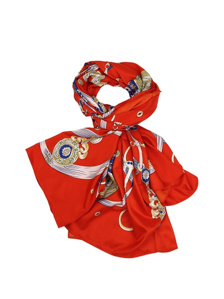 Orange Silk Casual Scarf