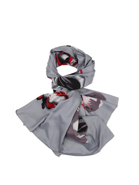 Casual Floral Silk Scarf