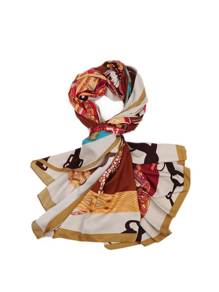 Silk Casual Abstract Scarf