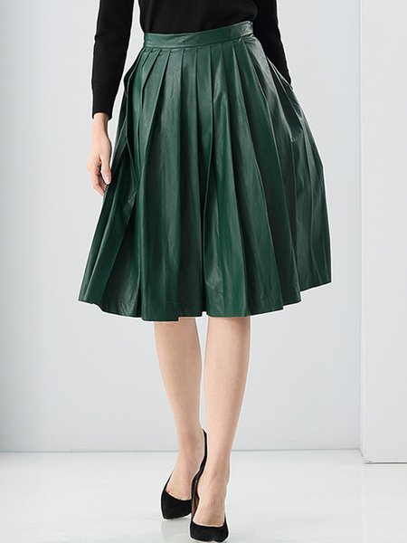 Green A-line Simple Solid Pleated Midi Skirt