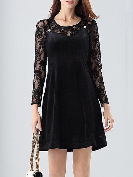 Girly Long Sleeve A-line Lace Paneled Crew Neck Mini Dress