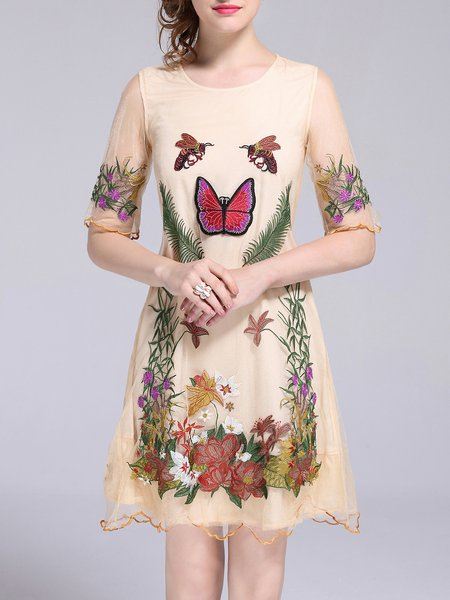 Embroidered Polyester Half Sleeve Floral Crew Neck Midi Dress