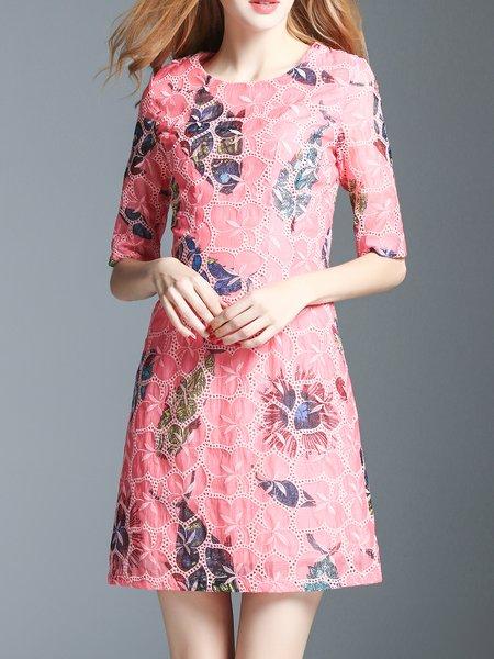 Embroidered Peach Half Sleeve Crew Neck Mini Dress