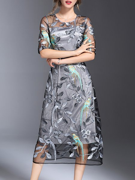 Embroidered Gray See-through Look Floral Girly A-line Midi Dress