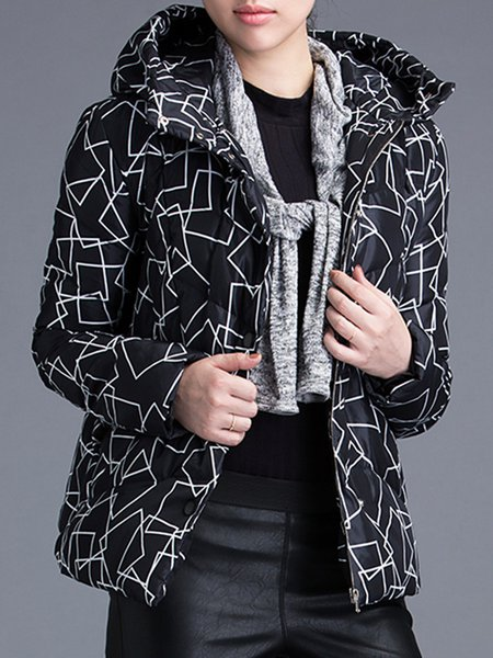 Black Geometric Printed Casual Down Coat