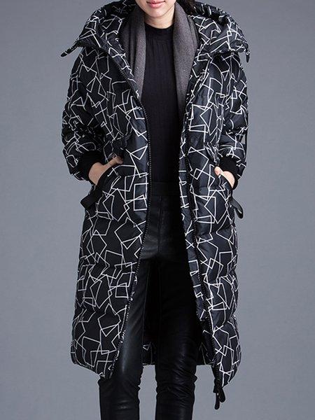 Black Hoodie Printed Longline Casual Down Coat