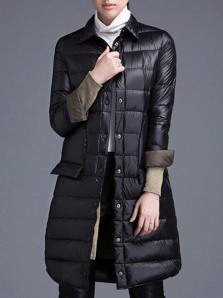Casual Long Sleeve Plain Down Coat