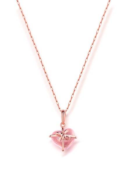 Pink Crystal Heart  925 Sterling Silver Necklace