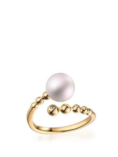 Golden Adjustable Round Brilliant Stone Pearl Ring