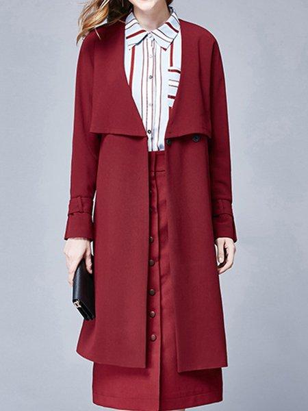 Simple Slit Plain Long Sleeve H-line Coat