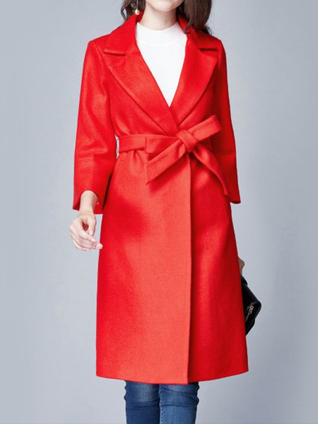 Simple Plain H-line Lapel Long Sleeve Coat with Belt