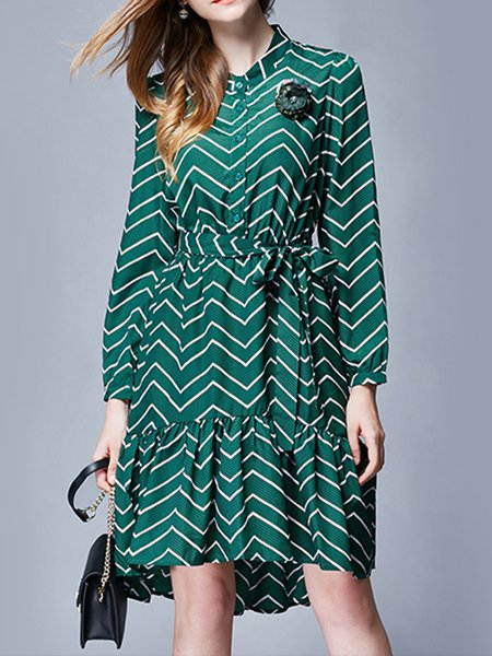 Long Sleeve Printed Stripe Stand Collar Vintage Midi Dress