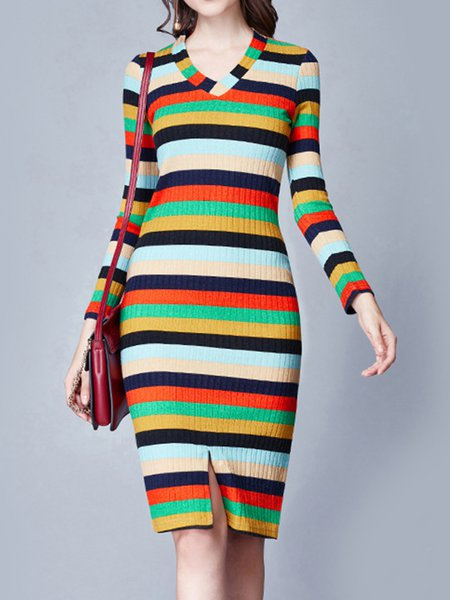Multicolor Long Sleeve Stripes Midi Dress