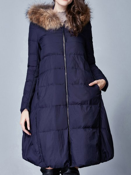 Navy Blue Hoodie Long Sleeve A-line Casual Parkas Coat