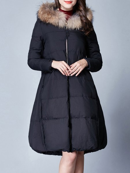 Long Sleeve A-line Casual Parkas Coat