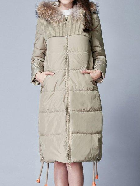 Slit Long Sleeve Zipper Solid Casual Parkas Coat