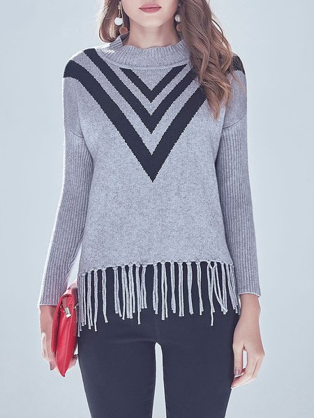 Geometric Fringed Turtleneck H-line Casual Sweater
